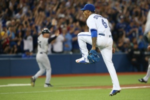 SP-JAYS23SEPT TORONTO, ON - SEPTEMBER 23  -  Toronto's Marcus Stroman cheers after finishing the 7th inning during the American League baseball game between the Toronto Blue Jays and the New York Yankees at Rogers Centre on September 23, 2015. Carlos Osorio/Toronto Star