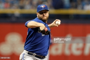 ST PETERSBURG, FL - OCTOBER 4:  Mark Buehrle #56 of the Toronto Blue Jays pitches during the first inning of game between the Tampa Bay Rays and the Toronto Blue Jays at Tropicana Field on October 4, 2015 in St. Petersburg, Florida. (Photo by Scott Iskowitz/Getty Images) *** Local Caption *** Mark Buehrie